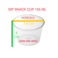 Cup Puding / Snack Cup SIP 155 ML + Tutup Dome Tanpa Lubang @50 Pcs