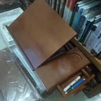Meja Laptop Lipat Meja Mengaji Meja Belajar ada laci dan slot cangkir