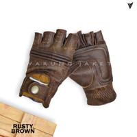 Sarung Tangan Kulit Asli Riding Rusty Brown WJA563 Leather Glove - S