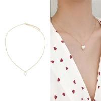 Kalung Rantai Premium Wanita Korea Bentuk Hati Mutiara Perhiasan