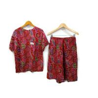 setelan kulot batik kencana ungu / baby doll batik / baju tidur batik