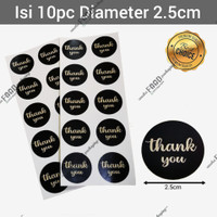 Sticker label tempelan kue roti thank you HITAM bulat diameter 2.5cm