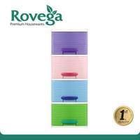 Rovega Lemari Plastik Pakaian 4 Susun Laci Rak Buku Rovega Cas 410RB