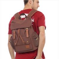 tas ransel backpack traveling laptop kanvas tebal pria aljio original