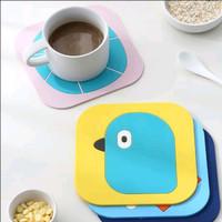 Tatakan Gelas Karet Silicon Motif Kartun - Kuning Bird