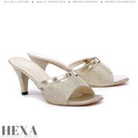 Sepatu Sandal Pesta Wanita Cewek Sendal Selop High Heels Emas Hak 7cm