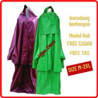 Jas Hujan Wanita Raincoat Muslimah Model Rok Size M-4XL Jumbo