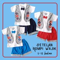 Baju Setelan Pesta Anak Bayi Laki Kaos Rompi Wajik Dasi Kupu 3-12 bln