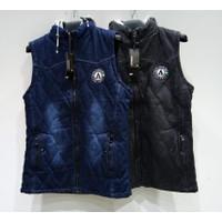 Jacket Pria / Wanita Import Jaket Rompi Topi Bahan Jeans (#8887A) - Hitam, XL