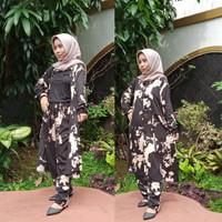 One Set Outer Rayon Outer Wanita Muslim Setelan Tunik Wanita