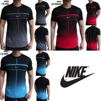 Kaos Training Pria Nike 6902 Import Baju Olahraga Cowok Gym Futsal - Hitam Lis Biru, M