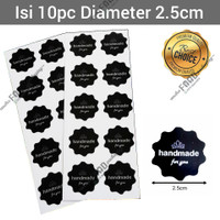 Sticker label tempelan kue roti handmade for you hitam diameter 2.5cm
