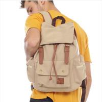 tas ransel backpack traveling kanvas pria original - cream