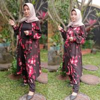Tunik Abstrak Wanita Setelan Tunik Muslim One Set Outer Rayon Terbaru