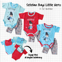 Baju Bayi Lak-laki Jumper Little Hero Sayap Celana Abu 3-12 bulan