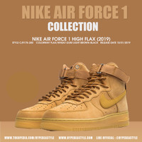 SEPATU NIKE AIR FORCE 1 HIGH FLAX (2019) ORIGINAL SNEAKER