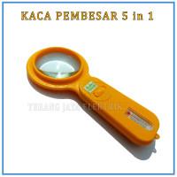 Kaca Pembesar 5 in 1 Termometer dengan Kompas dan Lampu LED