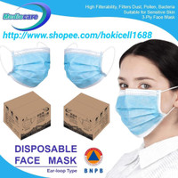 mediocare masker medis 3 ply disposable mask erloop 1 box isi 50pcs