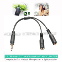 Splitter Cable/Kabel 3.5mm TRRS Male to TRS Mic Audio for Smartphone
