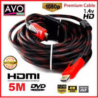 kabel HDMI 5 meter male Nylon Braided best quality hdmi cable