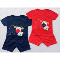 Setelan OBLONG KATUN Bayi Usia 0-12 Bulan motif PONY - Merah