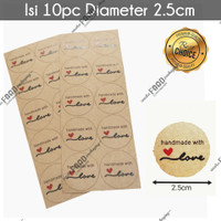 Sticker tempelan kue roti handmade with love BULAT kraft 2.5cm