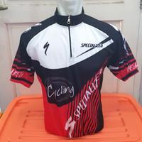 Kaos / Jersey Sepeda Specialized New Putih Merah Hitam Lengan Pendek