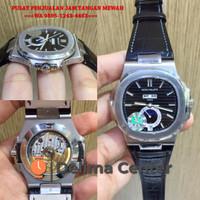 Jam Tangan Patek Philippe Nautilus Moonphase SS KMF Black Dial Leather