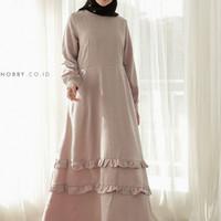 Gamis Wanita Polos Motif Embos Nobby - Nidaa Dress