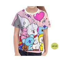 Kaos Anak Perempuan BTS Series 3D Baju BTS Anak Keren dan Murah #AP-23