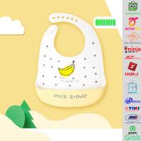 Celemek Bayi Karakter / Slabber Bayi / Celemek Makan Bayi Silicon - Banana