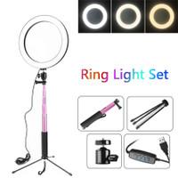 Lampu Halo Ring Light LED Selfie 16cm Smartphone Holder Tripod