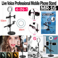 PHONE STAND MICROPHONE SELFIE RING LIGHT LIVE STREAM VIDEO MR-16 MR16