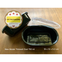 NEW Thinwall HITAM 750 ml OVAL Container Microwaveable