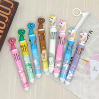 pulpen 10 warna unicorn, dino, swans - Purple Unicorn