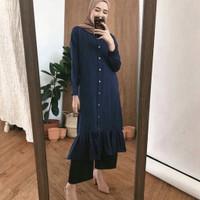 pakaian atasan fasihion wanita long tunik rempel premium - Hitam