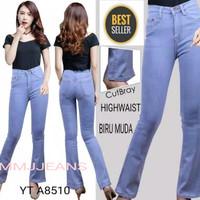 Celana Panjang Jeans HighWaist Wanita Model Cutbray Best Seller