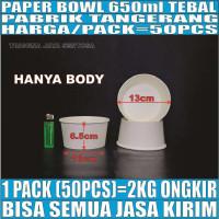 Paper bowl tebal 650ml mangkuk tahan microwave mangkok kertas 650 ml