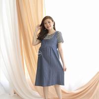 Dress Hamil Menyusui Modis Baju Monyet Striped Modern - DRO 702
