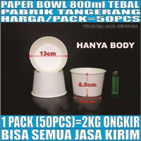 Paper bowl tebal 800ml mangkuk tahan microwave mangkok kertas 800 ml