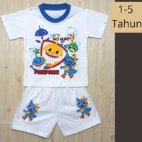Setelan Baby Shark / Stelan Celana Kaos Fashion Anak Laki-Laki Cowok