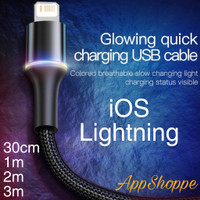 Baseus Kabel Cable iOS USB Braided Support Fast Charging LED LIGHT