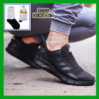 Sepatu Sneakers Kets Sport Running Pria Murah ADIDAS ZOOM FULL HITAM
