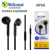 Earphone / Headset Extra Bass Stereo Wellcomm SP-98 - Hitam