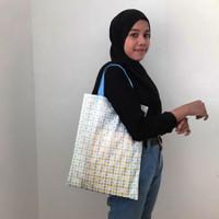 Goodie Bag Motif Polkadot Biru Hijau uk 30 x 40 cm Tote Bag Bahan Kain