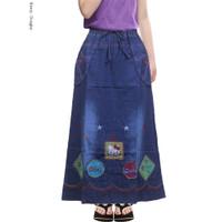 Rok Jeans Anak Perempuan 6-12 tahun Motif Bordir Rok Panjang Anak