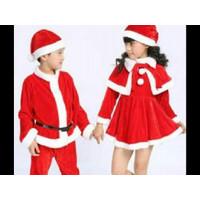 CLK293-baju santa anak 4-6 tahun kids kostum topi natal christmas