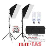 Paket Lampu Video Studio Shooting Vlog Lighting Foto Light Continuous