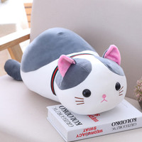 S - Bantal Boneka Kucing Cat Stuffed Pillow - Abu-abu, 50 Cm
