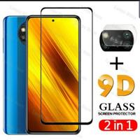 Tempered Glass 9D Poco X3 NFC + Tg Lensa Camera 2in1